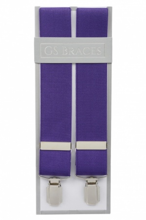 Plain Purple  Braces For Trousers With Silver Coloured Feather Edged Clips